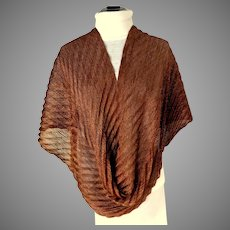 Copper Mesh Pleated Sparkly Long Fringed Scarf.  Striking.  As New Condition.