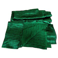 "Emerald Green and Black Houndstooth Check, Satin Polyester Fabric.  3 Yards + 13"".  Gorgeous. Unused, Perfect Condition."