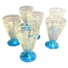 Etched Depression Glasses.  Turquoise-Blue Bases.  Set of 6.  Exquisite.  Perfect Condition.