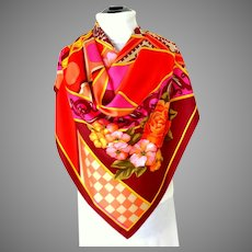 100% Silk Scarf.  Spectacular Graphics.  Medium Weight.  As New Condition.