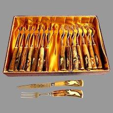 Carved Hartshorn / Staghorn Cutlery / Steak Set.  Germany Solingen. As New.  Unused.