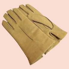 Genuine Pigskin Leather Gloves.  Size 7.  Pale Taupe Topstitched.  Lined.  As New Condition.