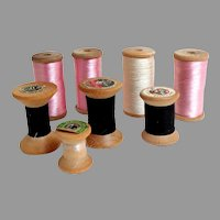 Vintage  8 Old Wooden Spools of Thread.  Different Sizes.  Different Threads.