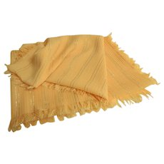 Pale Yellow with Silver and gold Threads Scarf.  Gorgeous. Large.  As New Condition.