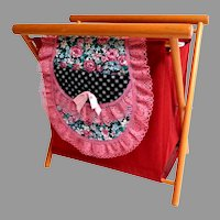 Vintage 1940's Fold-Up Sewing / Knitting Basket.  Wood and Canvas.  Added Pockets.  Charming!