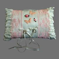 Vintage Ring Pillow.  White Satin & Pink Lace.  Gorgeous.  Mint condition.