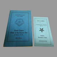 Constitution and Laws, Grand Chapter Order of the Eastern Star & By-Laws.    1945 Ed.  Mint condition.
