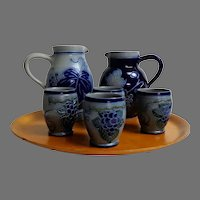 Betchdorf,  Alsace Lorraine Bas-Rhin France.   Pottery.  Wine Set.   Signed & Dated.  Mint Condition.