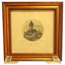 Original German Etching, Hand Colored of Burg Cochem, Germany.  Signed.  Framed. Very Small.  Perfect Condition.