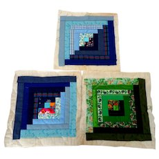 3 Log Cabin Quilted Squares.  Blues and Greens.