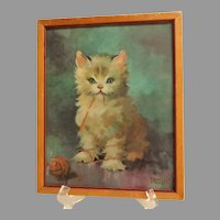 FLORANCE KROGER  Framed  Print.  Kitten with Wool. Charming.  Mint Condition.