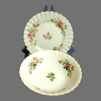 "Royal Albert ""Moss Rose"" Pattern.  2 Pieces.  Bowl. Side Plate.  English Bone China.  Mint Condition."