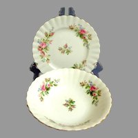 "Royal Albert ""Moss Rose"" Pattern.  2 Pieces.  Bowl. Side Plate.  English Bone China.  Mint Condition."