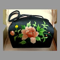 Chinese Satin Hardsided Box Small Purse.  Embroidered.  Adorable. Elegant.  Mint Condition.