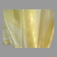 2 Yds Satin Polyester Fabric .  Cream & White Brocade with Stripes.  Totally Gorgeous.  Mint Condition.