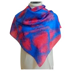 100% Silk Artist Dye Tie Scarf.  Beautiful.  Blue & Red.  As New condition.