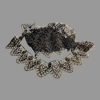 "3 Yds Black and Gold Machine Crocheted Lace.    Sparkly.  2"" Wide.  Super Gorgeous. Unused.  Mint Condition."