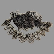 """3 Yds Black and Gold Machine Crocheted Lace.    Sparkly.  2"""" Wide.  Super Gorgeous. Unused.  Mint Condition."""