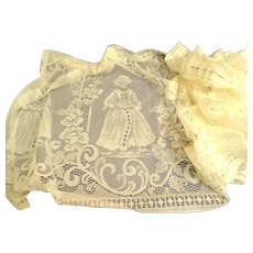 Vintage 1970's  German Lace Curtain.  Traditional Patterns.  Off-White.  Rod Pocket.  Near Fine Condition.