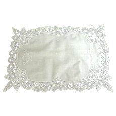 Battenburg Lace Tray Cloth.  White.  Exquisite.  As New Condition.