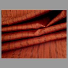 """4 Yds + 8"""" Fine Taffeta Fabric.  Terracotta with Fine Black Stripes.  Perfect for Antique Doll or Adult Patterns."""