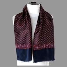 Gentleman's Silk Scarf.  Classic Elegance.  Navy and Wine.  As New Condition.