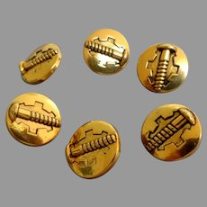 6 Buttons with Screw Patterns.  Gold Plastic.