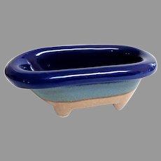 Doll Bathtub.  Blue Ceramic.