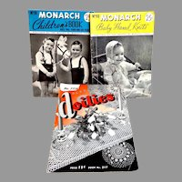 MONARCH Children & Baby Knitting Books and Doilies.  1940's.  Reference.