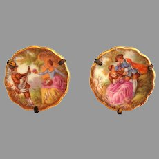 Doll Decor.  Pair Tiny Limoges Plaques.  Framed.  Stand Up.  Mint Condition.