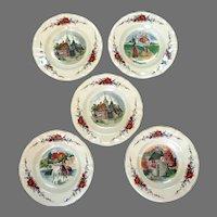 Sarreguemines France 'Obernai' Pattern.  5 Large Rim Soup Bowls.  1970's.  Mint Condition.