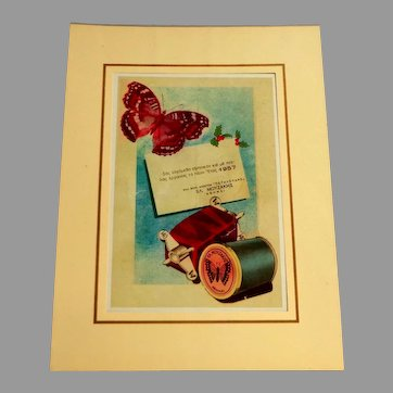 Greek Lithograph.  Sewing Theme.  Dated 1957.  Matted. Unframed.  Perfect Condition.