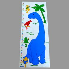 Vintage Fabric Growth Chart  for Children.  Dinosaur.  As New, Unused Condition.