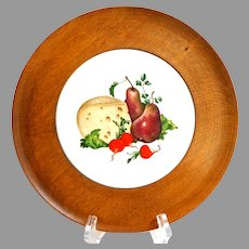 Vintage Vermont Cheese Board.  Wood and Ceramic.  As New,  Unused Condition.