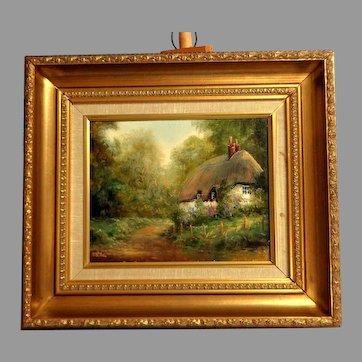 PETER SNELL England Landscape Artist.  Oil on Canvas.  Thatched Cottage. Rural Setting.  Artist Signed. Framed.