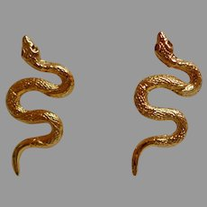 Snake Pierced Earrings.  Gold Toned.  Eye Catching.