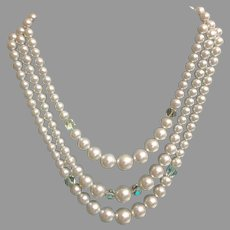 3 Strand Faux Pearl Necklace with Aurora Borealis Accent Beads.  Lovely.  Classic Elegance.