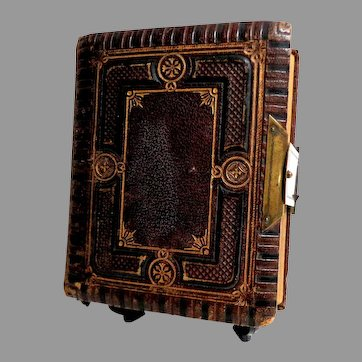Antique Photo Album with Metal Clasp.  Tooled Leather.  Smaller Size.