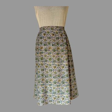 1990 A-Line Rayon Summer Skirt.  Classic Style.  Perfect Condition.