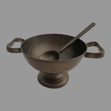 Antique German Pewter Pedestal Bowl and Spoon .Handmade. Stamped Crest.