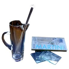 Martini Pitcher with Stirrer & Matching Glass Coasters & Martini Recipe Book.