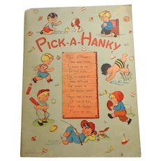 Pick-a-Hanky Book with 7 Hankies.  1940's.  Near Fine Condition.