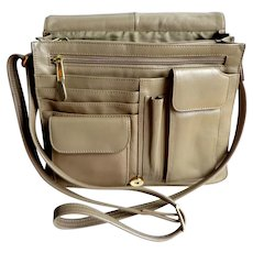 Genuine Leather Taupe Crossbody Purse.  Multiple Pockets.  Quality.  As New Condition.