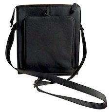 Black Faux Leather Crossbody Purse.  Multiple Pockets.  As New Condition.