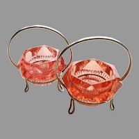 Pair of Open Salt Dips.  Pink Faceted Brilliant Cut Glass in Metal Holders.  Unusual.  Lovely.  Mint Condition.