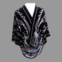 Burnout Silk Velvet and Chiffon  Scarf.  Black and Silver.  Totally Gorgeous.  Perfect Condition.