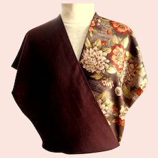 Designer Scarf.  Perry Ellis.  Wool & Silk 2 Layers.  Rectangular.  As New Condition.