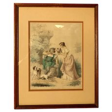 Antique French Engraving / Print.  Hand Colored.  AVANT LA CHASSE  (Before the Hunt).  Framed. Charming.  Excellent Condition.