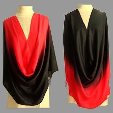 Black and Red Pashmina.  Graduated Color.  Gorgeous.  As New Condition.