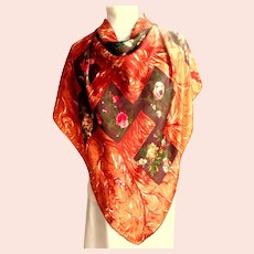 100% Silk Scarf.  Fall Colors.  Terracotta, Cream, Green.  Lovely.  As New Condition.
